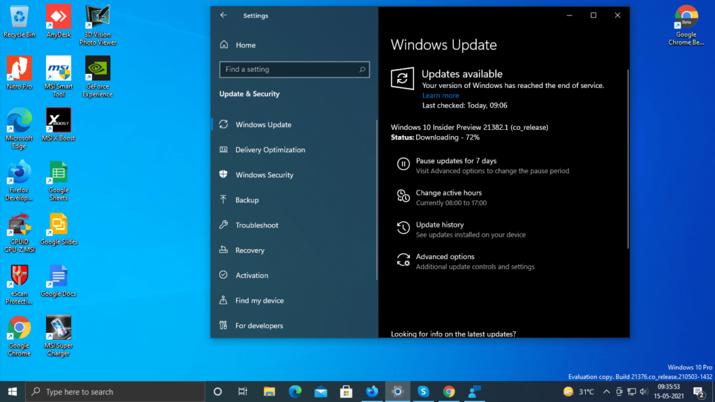 Windows 10 Insider Preview 21382.1 co release 210511 1416